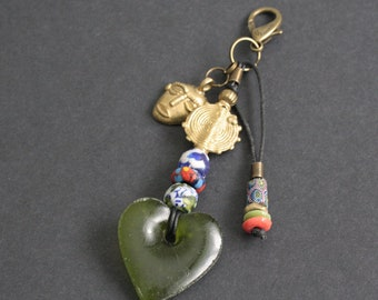 African Bag Charm, with Tribal Mask Charm, Handmade with Recycled Glass, Trade Bead and Brass Beads, Small Gift for Her