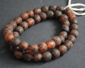 15 African Beads, Ghana Krobo Ethnic Refashioned Glass, 15 mm Handmade Ethnic Beads, Mottled Orange/Black,  for Jewelry and Crafts