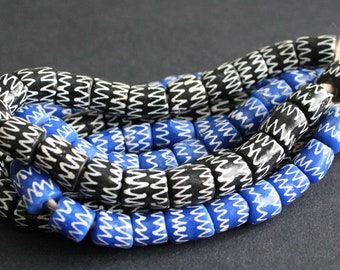 20 African Beads, Recycled Glass Tubes Handmade Ghana Krobo Craft 11-14mm, Black/Blue & White,  for Jewelry and Crafts