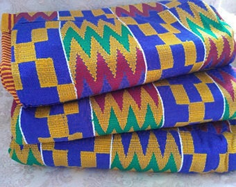 Blue Kente Fabric Handwoven Authentic Ghana, African Cloth, Wedding & Occasion Wear, Cotton, Fathia Design, 1 Large piece, 3 Size Options