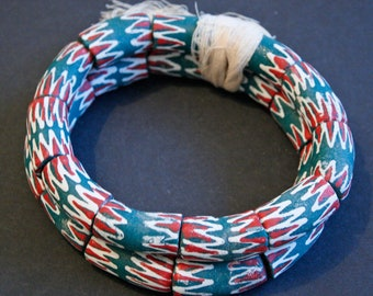 5 African Beads, Ghana Recycled Glass Tubes Handmade 30-32 mm, Teal, Red and White, Hand-Painted Chevron Style