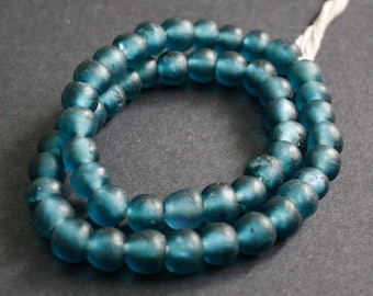 15 African Beads, Recycled Glass, Ghana Krobo  Round, 12-13 mm, for Jewelry and Crafts, Shimmery Petrol Blue