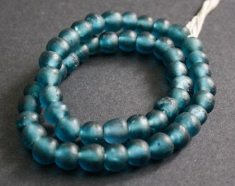48 African Beads, Recycled Glass, Ghana Krobo  Round, 13-15 mm, for Jewelry and Crafts, Shimmery Petrol Blue