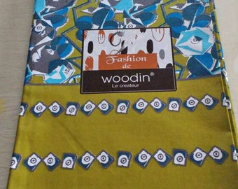 African Fabric Woodin Brand, Ghanaian Cotton Print, Blue/Turquoise/White/Green. 6 Yard bundle, for clothing, interiors and crafts