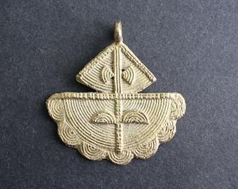 1 African Tribal Brass Pendant, Handmade Ashanti Ethnic Lost Wax Technique, 43/52 mm. 2 Design Options