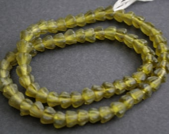 30 African Flower Beads, Ghana Recycled Glass, Handmade Bright Olive Green, 7-8 mm, Translucent, for Jewelry and Crafts