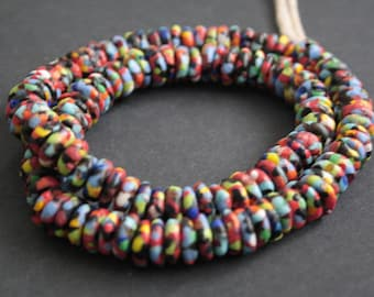 126 African Disc Beads, Ghana Krobo Refashioned Glass Spacers, 9-11 mm, Handmade Ethnic Beads for Jewelry and Crafts, Full Strand