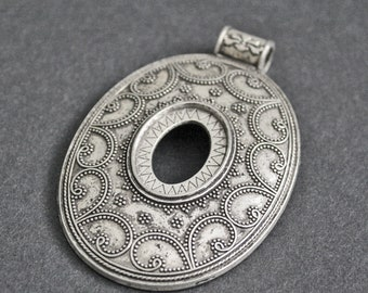 Large Metal Pendant Statement Piece Oval Silver Coloured