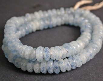 30 African Disc Beads, Recycled Glass Spacers, 12-14 mm, Mottled Blue/Frosty White, Handmade  for jewelry and Crafts