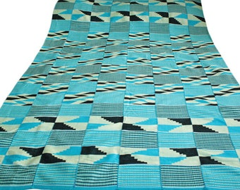 Kente Cloth, Authentic African Fabric, Handwoven in Ghana, Turquoise , Large Piece, 66 X  34 inches