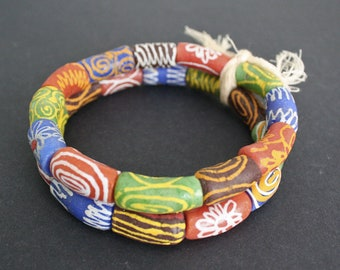 12 African Beads, Ghana Krobo Recycled Glass EthnicTubes, Handmade Mixed Tubes, Full Strand, 24-27mm approx, for Jewelry and Crafts