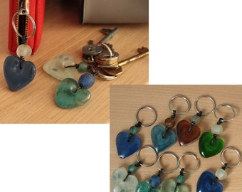 Small Recycled Glass Heart Key Rings Handmade in Ghana, Great Small Gifts and Stocking Fillers
