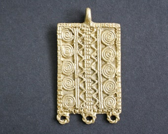 Large Brass Pendant Handmade Ethnic Craft for Statment Pieces 67mm x 37mm, Stunning details