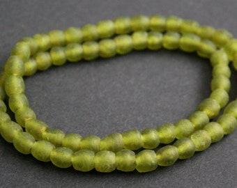 Bright Olive Green African Beads, Ghana Recycled Glass, Handmade  Krobo Ethnic beads for Jewelry and Crafts , 7 mm approx, Long Strand