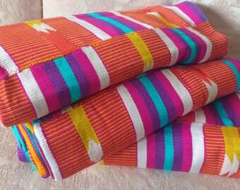 Ghana Kente Cloth Fabric, Authentic Handwoven Ethnic Cotton, Rich Colours, 2 Size Options