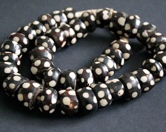 10 African Beads, Batiked Kenyan Bone Beads Dotted Design 22 -25 x 12 - 14 mm, Handmade