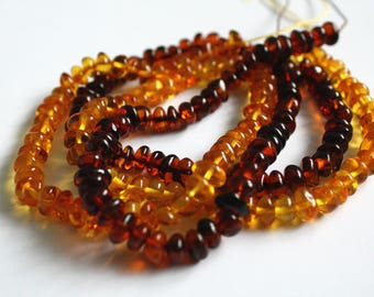 Drilled Amber Baroque Nugget Strand, Dark or Light Amber Cognac, Luscious Colours, 6 mm