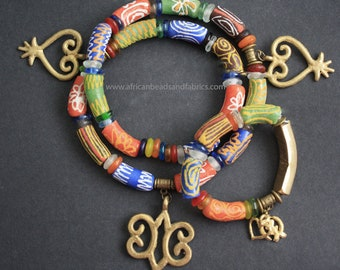 African Traditional Wedding Set, Head Piece and Bracelet with Adinkra Sankofa & Hye Wo Nhye /Gye Nyame Symbols. 22/24 Inches