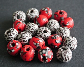 10 African Beads, Ghana Refashioned Glass, Handmade Ethnic Craft, 15-16mm Round for Jewelry and Crafts, Mixed Lot, Red/Black/White