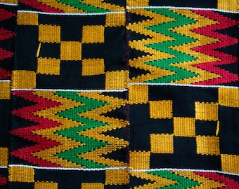 Ghana Kente  Fabric, Wedding and Occasion Wear, Cotton, Black and Multi Rich Colours, 1 piece 60 x 30 inches.  Fathia Design