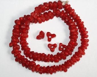 40 Red African Beads, Ghana Krobo Recycled Glass, Handmade, Triangular
