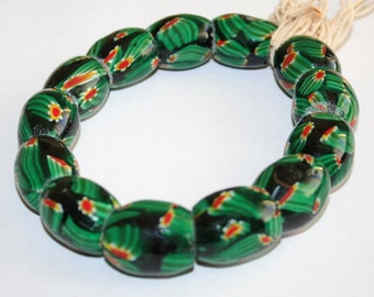 1 Strand Indian Glass Beads Barrels 22-24mm, Green/Black/Red/White, for Beading & Crafts