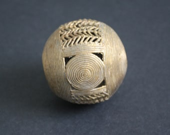 Extra Large African Brass Bead, Ashanti Ghana Lost Wax, Globe, Jumbo Sized, 55 mm, Hand-made, Discounted Prices