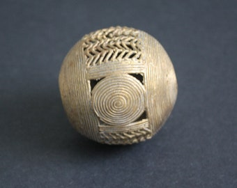 Extra Large African Brass Bead, Ashanti Ghana Lost Wax, Globe, Jumbo Sized, 55 mm, Hand-made, Discounted Price