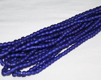 70 Cobalt Blue African Beads, Ghana Recycled Glass, Handmade  Krobo, 6-7 mm Round, 1 full strand