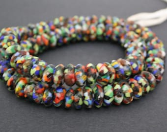 20 African Disc Beads, Mixed Colours, Handmade Refashioned Glass, Krobo, Ghana 13-14 mm Spacers
