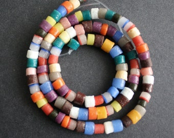 African Beads, Ghana Krobo Recycled Glass Mixed Lot of Tube Spacers 5-7 mm, Handmade Ethnic Beads, Mixed Lot, 100 on Strand/50 pack