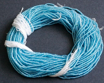 Blue Waist Beads or Seed Beads, Tiny 2 mm Glass, Long Strand 40 inches with Cotton Cord, 2 long strands