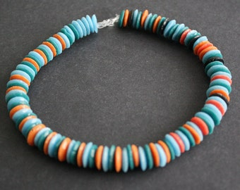 African Beads, Recycled Glass Ghana Krobo Doughnut-Shaped, Handmade 10 mm Discs Doughnuts, for Jewelry and Crafts