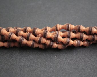 66 African Beads, Ethnic Handmade Krobo Ghana Cones, 7 mm, Muted Orange/Brown, Full Strand