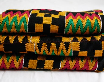 Ghana Kente Cloth Fabric, Wedding and Occasion Wear, Cotton, Black and Multi Rich Colours, 2 Size Options, Fathia Design