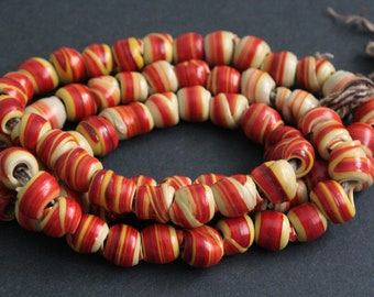 70 African Beads, Handmade Recycled Plastic, Approx 12-15 mm, Red/Custard/Yellow for Jewelry and Crafts, Full strand,