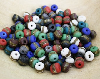 African Beads Ghana Krobo Recycled Glass, Handmade Round 12-13mm Mixed Lot, Variety of Colours, 7 Options, for Jewelry and Crafts