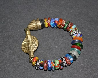African Stretchy Bracelet, Ghana Refashioned Glass & Brass Beads, Great Small Gift for her, Multi Coloured/black/Gold
