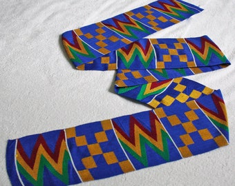 Kente Fabric Strip from Ghana, Authentic Handwoven Strip, Cotton, for Sewing or Graduation Stole, Gift Idea, Blue