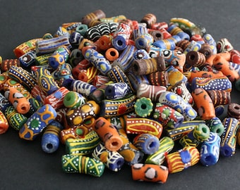 African Tube Beads, Handmade Ghana Krobo Recycled Glass from Krobo, Ghana, Mixed Lot , Pretty & Colourful for Jewelry and Crafts