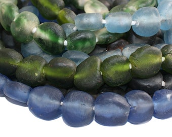 African Beads, Krobo Ghana Recycled Glass, Hand-made Unusual Ethnic, for Jewellery /Jewelry and Crafts, Pack of 15