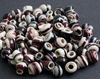 15 African Beads, Handmade Recycled Plastic, Approx 12-14 mm, Red Grape for Jewelry and Crafts
