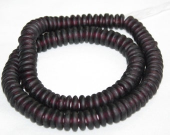 40 African Beads, Handmade Ghana Recycled Glass Spacers, 10-12 mm for Jewelry and Crafts
