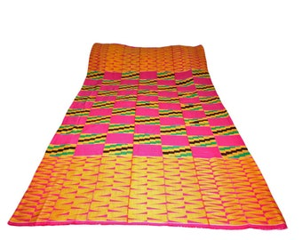 African Fabric Kente from Ghana, Authentic Handwoven Traditional Textile, Pink, For Clothing & Interiors