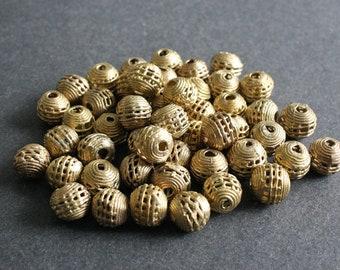 15 African Brass Beads, Ghana Ethnic Lost Wax Brass, 12-13mm, Handmade