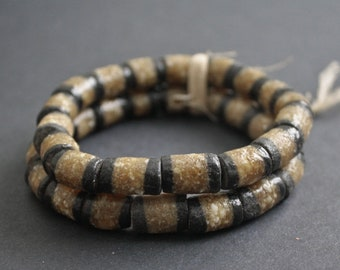 17 3-Layer African Beads, Recycled Glass Tubes from Ghana's Krobo, 12-16 mm, One Strand, for Jewelry and Crafts, Black/Gold/White
