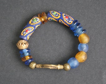 Stretchy African Beaded Bracelet, Ghana Recycled Glass Beads and Brass Beads, Blue/Gold, Great Gift Idea