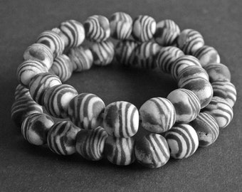 10 Large African Beads, Ghana Krobo Ethnic Recycled Powder Glass, 17-18 mm Round, Charcoal Grey & White, Handmade, for Jewelry and Crafts