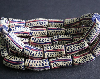 11 Large African Beads Handmade Ghana Krobo Recycled Glass tubes 25-27mm, Blue/Red/Vanilla
