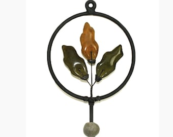 Wall /Clothes Hook Handmade Light Wrought Iron & Recycled Glass Accents, Olive Green/Golden Brown